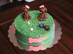 Puppy cake, girl birthday cake, grass tip, puppies