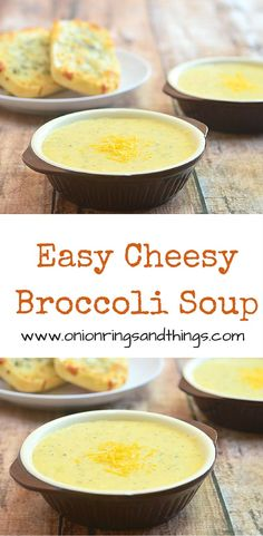 These easy cheesy broccoli soup comes together with basic pantry ingredients and in less than 30 minutes for a hearty warm-you-up comfort food that's loaded with tender broccoli bits and cheesy goodness.