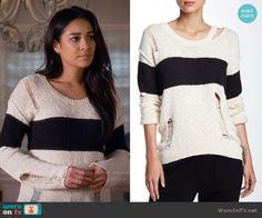 Emily's cream sweater with black stripe on Pretty Little Liars.  Outfit Details: https://wornontv.net/58990/ #PLL
