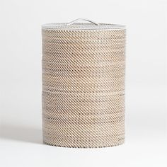 Sale ends soon. Handwoven rattan, finished in warm grey, crafts a tall, roomy cylinder, lidded to keep laundry or used towels out of view. Each handmade piece will vary slightly in size. Wicker Laundry Hamper, Wicker Baskets, Laundry Baskets, Storage Baskets, Laundry Basket With Lid, Lp Storage, Record Storage, Laundry Rooms, Storage Containers