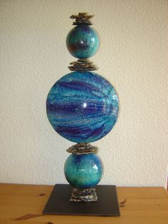 Sculpture totem en Raku - Bleu / grd format : Sculptures, gravures, statues par emiliaraku