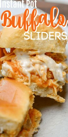 Instant Pot Buffalo Chicken Sliders are tender pulled chicken with a blue cheese hot sauce that is the perfect mix of spice and a splash of sweet. Buffalo Ranch Chicken, Buffalo Chicken Sandwiches, Shredded Buffalo Chicken, Instant Pot Pressure Cooker, Pressure Cooker Recipes, Slow Cooker, Pressure Cooking, Instant Cooker, Chicken Wing Sauces