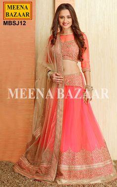Neon Pink Net Lehenga Choli - Lehengas - Wedding