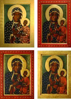 KOPIE OBRAZÓW - Pracownia Temper - Ewa Kociuba Our Lady Of Czestochowa, Madonna Art, Pope John Paul Ii, Blessed Virgin Mary, Serbian, Tempera, Metal Art, Matki, Virgin Mary