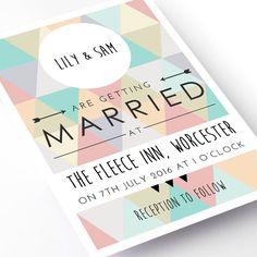 Geometric Wedding Invitation by OhMyGoodMess on Etsy, £130.00