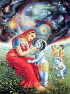 Hindu Art: Krsna showing Yasoda the universe in his mouth