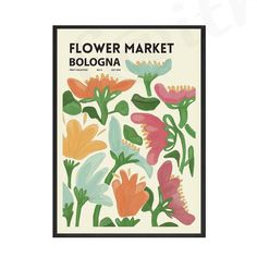 Vintage Colorful Flower Market Poster Exhibition Style Nordic Wall Art Print on Canvas Modern Painting Living Room Home Decor - 10x15cm No Frame / 3.no border default