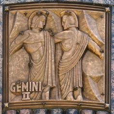 gémeaux - bronze signe du zodiaque sur la façade de l'Adler Planetarium à Chicago