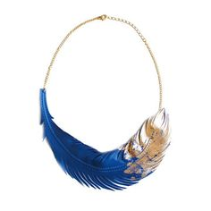Leather Feather Necklace Blue now featured on Fab.