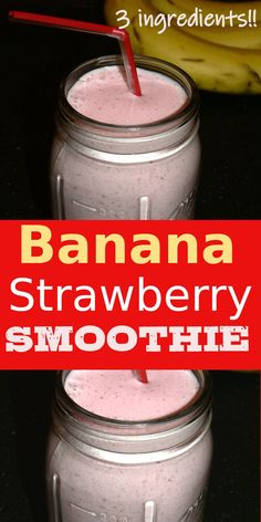 How to make healthy Banana Strawberry Smoothie with just 3 ingredients! Easy Strawberry Banana Smoothie recipe with milk that is perfect for breakfast or brunch | TastyGalaxy.com Pumpkin Smoothie, Strawberry Banana Smoothie, Avocado Smoothie, Strawberry Recipes, Smoothie Bowl, Nutritious Smoothies, Healthy Breakfast Smoothies, Best Breakfast Recipes, Breakfast Ideas