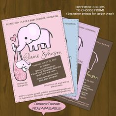 Elephant Baby Shower Invitation - Elephant mommy and baby - Printable Baby Shower Invitation - Pink, Light Blue, Purple or Brown Baby Shower. $10.00, via Etsy.
