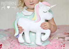 Felt Toy Unicorn Pattern - Unicorn Pillow - Unicorn Cushion, - Sewing Patterns at Makerist