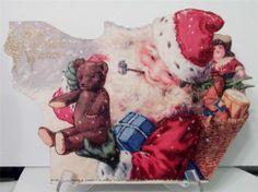New WOOD DECORATION Victorian SANTA Christmas Postcard Image Toys, Bear, Pipe