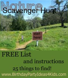 Nature Scavenger Hunt List - with a FREE list of 25 fun items for kids to find!  Great for the party, backyard or while camping! http://www.birthdaypartyideas4kids.com/nature-scavenger-hunt-list.htm