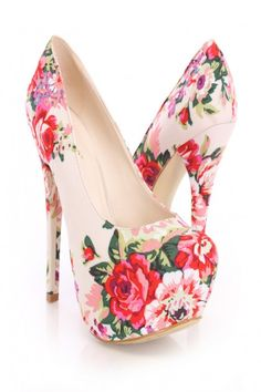 Beige Floral Print Pump Heels Canvas. So girly! I love these with a summer dress!