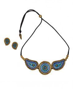 Blue Paisley and Round Shape Necklace Set - Maatikaar - Designers