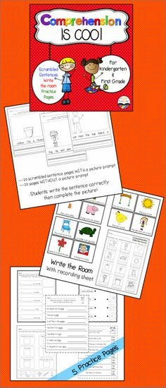 $ Comprehension practice for Kindergarten or first grade!  Scrambled sentences, write the room, and practice pages!