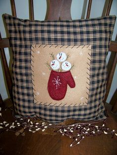 Primitive Snowman Pillow Winter Mitten Snow by wvluckygirl on Etsy, $14.99