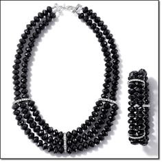"""Avon BLACKOUT BEADED COLLECTION Multistrands of black faceted beads with rhinestone embellishment.Necklace 20"""" L with a 3 1/2"""" extender. $14.99.  Double-Strand Bracelet Stretches to fit most. $9.99. Coming in Campaign 21.  http://youravon.com/irmae"""