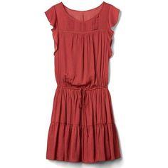 Gap Women Pintuck Tier Dress ($80) ❤ liked on Polyvore featuring dresses, rust, tall, red embroidered dress, full skirt, drop-waist dresses, tiered dress and red drop waist dress