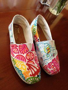 Lilly Pulitzer Inspired Handpainted Toms- Multi Pattern (you gotta regatta, sailors valentine, Chiquita Bonita ). $95.00, via Etsy.