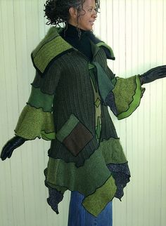 Front of Olive recycled sweater coat by Brenda Abdullah