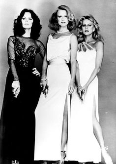 Charlie's Angels Season 4 Line Up. Kelly Garrett, Tiffany Welles and Kris Munroe (L-R Jaclyn Smith, Shelley Hack and Cheryl Ladd).