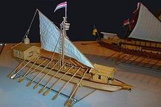 Magyar Naszád Hungarian cannon longboat or gunboat with a mast and sail, a type of galley, used in medieval warfare on Danube during XVI-XVII centuries by Kingdom of Hungary