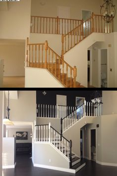 What paint can do. I HATE honey oak. We painted our walls Revere Pewter, did the banisters in General Finishes Java Gel, with white high gloss balusters. #ReverePewter #JavaGel