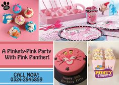 Pink it Up This Birthday With a Classic Pink Panther Theme, Available Only at in # Pink Panther Theme, Happy 50th, Pink Panthers, Party Themes, Birthday Cake, Classic, Desserts, Fun, Fiestas