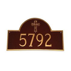 Montague Metal Products Classic Arch with Cross Address Plaque Finish: Black / White, Mounting: Wall