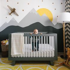 The Leclairs made a modern nursery for their son Hugo, creating a great transitional space for him as he grows. The Leclairs made a modern nursery for their son Hugo, creating a great transitional space for him as he grows. Baby Bedroom, Baby Boy Rooms, Baby Boy Nurseries, Kids Bedroom, Baby Room Ideas For Boys, Baby Room Grey, Grey Yellow Nursery, Grey Nursery Boy, Baby Room Colors