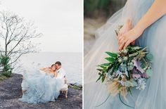 East Made Event Company Maryland Coastal Inspiration Styled Shoot as featured on Green Wedding Shoes. Photo by CJK Visuals, Blue Oceane Wedding Dress by Carol Hannah. Beach wedding inspiration. Purple and green blue bouquet by Mobtown Florals