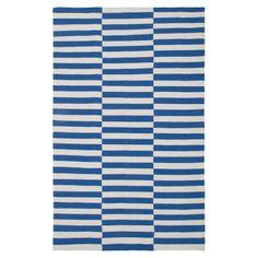 Blue and white stripe rug