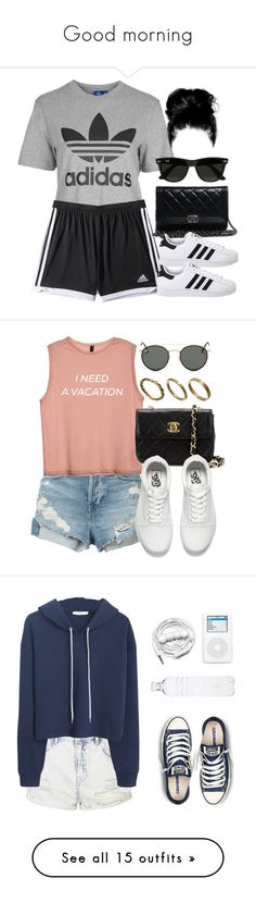 """Good morning"" by catilynhartzog ❤ liked on Polyvore featuring Topshop, adidas, Chanel, adidas Originals, Ray-Ban, 3x1, Vans, Made, MANGO and Urbanears"