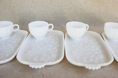 Vintage milk glass snack set....I have a set....lovely