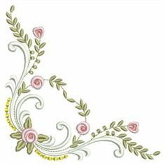Sweet Heirloom Embroidery Design: Heirloom Rose Corner 3.80 inches H x 3.80 inches W