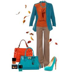 """Orange and Teal Fall Office Wear"" by chrissykp on Polyvore"