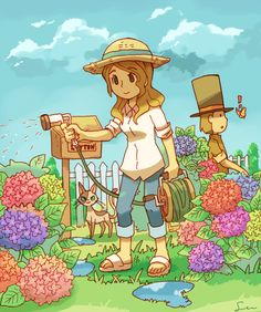 Claire and Hershel gardening in the Summer. I don't know why but I find Professor Layton spotting a butterfly in this picture really cute!