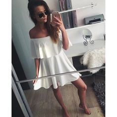 casual white dress, sweet and cute off the shoulder dress, strapless mini dress - Lyfie