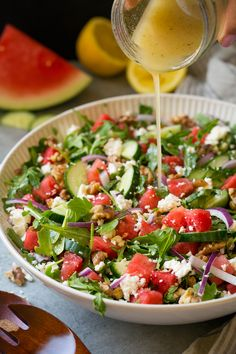 Watermelon Cucumber Salad with Feta and Lemon Dressing - Cooking Classy