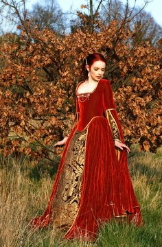 Magnificent medieval tudor russet and gold velvet gown with undergarments. £1,500.00, via Etsy.