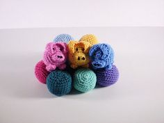 These crocheted pigs are a variation on a simple juggling ball. You can make the plain version or add the details to turn them into flying pigs. They would also make good toys. The pigs are filled with bean bags and use only small amounts of yarn.