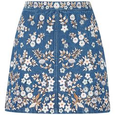 Needle & Thread Denim Embroidery High Waist Skirt (1.130 BRL) ❤ liked on Polyvore featuring skirts, embroidered skirt, blue high waisted skirt, mini skirt, blue mini skirt and denim skirt