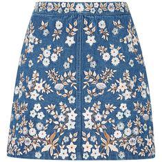 Needle & Thread Denim Embroidery High Waist Skirt BRL) liked on Polyv High Waisted Denim Skirt, Blue Denim Skirt, Cl Fashion, Fashion Outfits, Fashion Decor, Cute Skirts, Mini Skirts, Beautiful Outfits, Cute Outfits