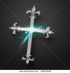 Metal Jesus Cross with power sparkling light effect on grey background. - stock photo