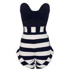 Womens Off-shoulder Strapless Striped High Waist Short Jumpsuit