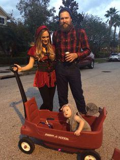 Radio Flyer Trick or Treating Halloween 2015  Baby big bad wolf, red riding hood, the lumberjack