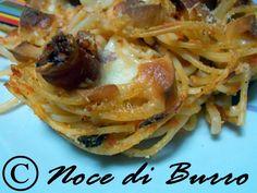 Nidi di spaghetti con speck e mozzarella, ricetta riciclosa Noce Di Burro blog