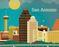 San Antonio Texas Skyline Poster  Horizontal Texan by loosepetals, $26.00